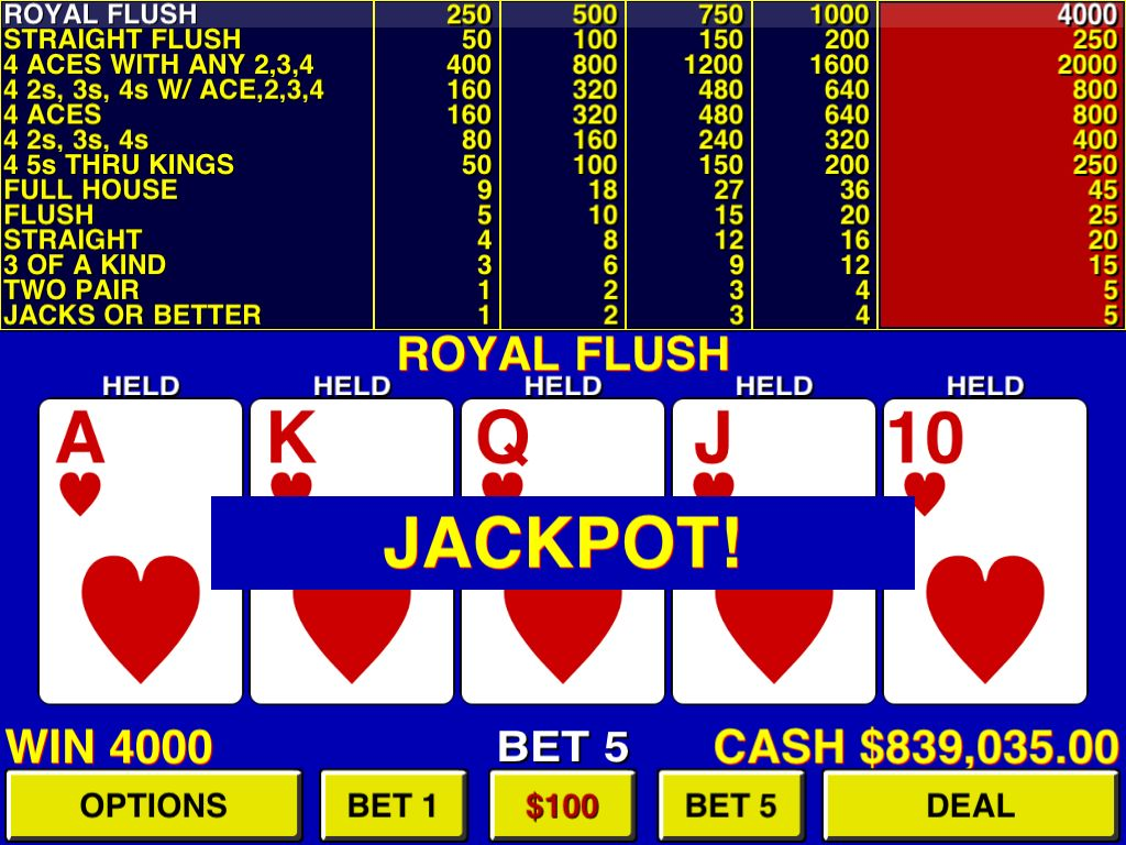 Royal flush video poker